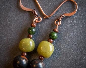 Copper, Moss Agate and Peridot Jasper Earrings