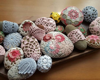 Decorative  Beach Stones Home Decor Crochet Cover Stones Decor, Beach Wedding Decor decorative beach stones