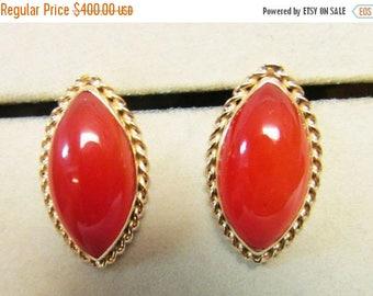 On Sale Vintage Estate Ming's of Honolulu Carnelian Stone Earrings Hard to Find