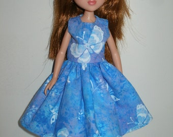 """Handmade little sister 10.5"""" fashion doll clothes - blue and white butterfly print dress"""