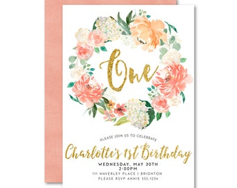 Peaches and Cream Invitation | Girl Birthday | Floral Wreath Birthday Invitation | First Birthday | Printable, Digital, Faux glitter 1567