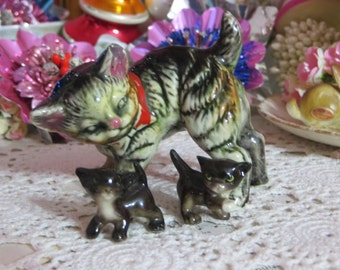 Vintage Tabby Kitten Figurines-Set of 3