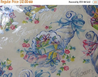 ON SALE Vintage Gift Wrap-Old Stock-Wrapping Paper-Shower-Original Package