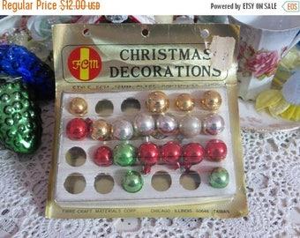 Store Closing SALE Vintage Tiny Feather Tree Glass Ornaments-Original Box-14mm-2 Dozen