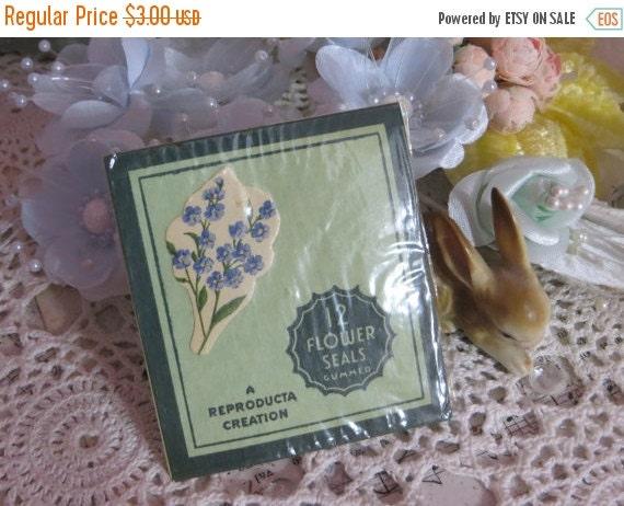 ON SALE Vintage Gummed Seals-Blue Purple Phlox-Flowers-Old Stock-12pc Lot-Unopened Package