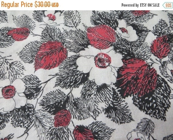 ON SALE Vintage Feedsack Fabric-Floral-Full Sack-Unopened- Feed sack-1930's-Black and Red Floral