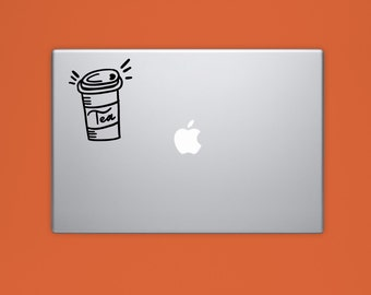 New! - TEA CUP VINYL Decal, To Go Tea Laptop Decal, Illustrated Decal, Computer Decal, Vinyl Sticker