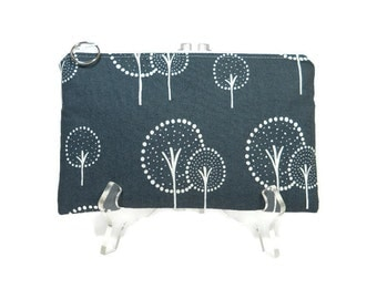 Gray Tree Zipper Pouch, Gray White Cosmetic Bag, Pencil Pouch, Accessory Bag, Gadget Case, E-Cig Case, Zip Bag, Padded Pouch, Purse Pouch