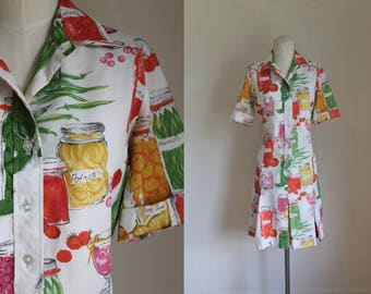 vintage 1960s dress - PICKLING novelty print Serbin shirt dress / M