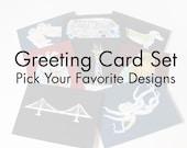 Map Card Set // Choose Your Favorite Designs // Frameable Stationary // Bulk Deal