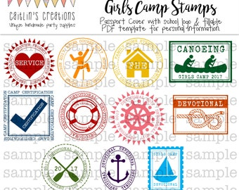 More LDS Girls Camp Passport Stamps - Camp certification stickers - printable instant download - Custom passport - Template - Digital Print