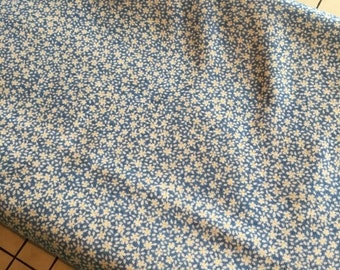 "Light Weight Cotton Jersey Fabric Dainty Blue Floral Knit Fabric 2 3/8 Yards X 58"" Wide #4124"