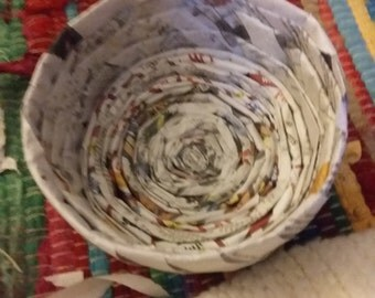 Hand bound Newspaper bowl.