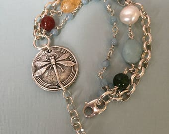 Artisan Made 999 Fine Silver focal 1 inch Medalion- Dragonfly - 935 Argentium 5.9 x 7.4mm Blecher-Rolo chain-935 wire wrapped Gems