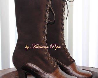 NEW Victorian Boots in 2 tone Brown leather Victorian Shoes in two tones Brown Booties Granny Shoes