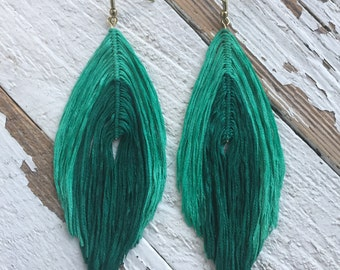 Made to order Boho - earrings - yarn feather - string feather earrings - tribal - bohemian - gifts under 20. Pick your colors!