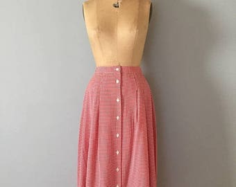 25% OFF SALE ... gingham red maxi skirt | button front gingham rayon skirt