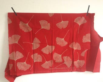 Marimekko Gold Ginko on Red Fabric Remnant