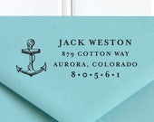 Return Address Stamp, Nautical Address Stamp, Anchor Stamp, Self-Inking Return Address Stamp, Wedding Address Stamp, Custom Stamp - No. 17
