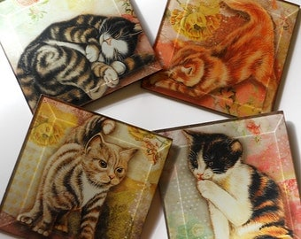 Kitty Cat Coasters - Set of Four Handmade 4 or 5 inch Square Decoupage Beveled Glass  Art Drink Coasters - Here Kitty Kitty