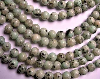 Lotus Jasper - 10 mm round   beads -1 full strand - 39 beads - RFG1213