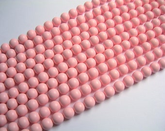 Shell pearl - 8 mm round - Satin matte  pearl  - Pink - 1 full strand - 49 beads - SPT24