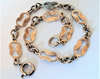 Vintage Sterling Silver Bracelet... Fancy Open-Link Chain... Tarnished
