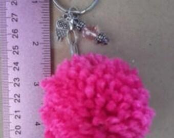Pink yarn pom pom keychain