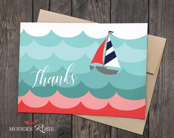 Sailboat on the Waves Thank You Cards- Set of 10 folded greeting cards and envelopes