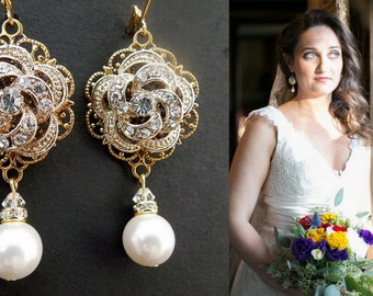 bridal earrings, Pearl earrings, Wedding pearl Earrings, Swarovski Crystal Earrings, Chandeliers Earrings, Statement Earrings, ROSELANI