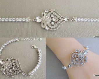 bridal rhinestone bracelet, Crystal Bridal Bracelet, Crystal Bracelet, Crystal Bridal Jewelry, Wedding rhinestone Bracelet,  STELLA