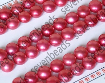 4 pcs(2 pairs) 8-8.5mm Pink Button Freshwater Pearls, Half Hole Drilled Gemstone Beads for pearl stud earrings finding