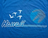 Hawaii T-Shirt, Blue Retro Graphic Tee, Beach Surfwear, Vintage 80s, Hanes Fifty-Fifty