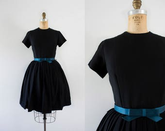 1960s Blue Emerald simplistic tea party dress / 60s little black dress