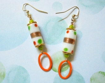 White, Gold, Lime Green and Orange Spotted Earrings (3487)