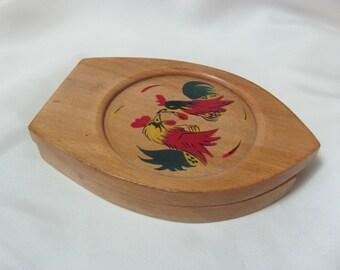 Vintage Wood Hamburger Patty Press Rooster Design