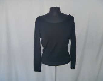 Vintage Silk Black Long Sleeve Blouse with Wide Scoop Neck with Bow Accent by Belfort Petites