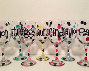Personalized wine glasse polka dot monogram bridesmaid bride wedding gift bachelorette party