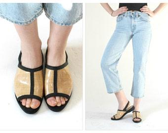 Salvatore FERRAGAMO Black & Rattan Slingback Sandals- 8 B, Flats, Minimalist Vintage Designer Boho Shoes