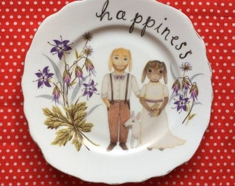 Happiness Wedding Couple with Pets Illustrated Vintage Plate
