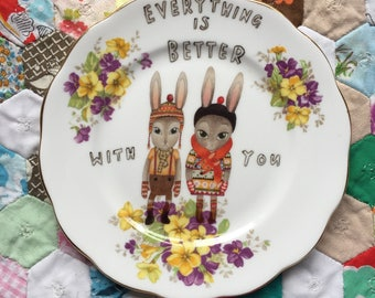 Winter Bunnies Everything Is Better With You Floral Vintage Illustrated Plate