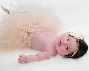 Baby Girls Tutu, Beige Tutu for Newborn Girls, Baby Shower Gift, Photo Prop, Tulle Skirt, 1st Birthday Outfit, Newborn Tutu, Baby Tutu