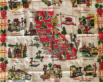 vintage California Linen vintage California wall hanging, fisherman's wharf, Knottsberry farm,