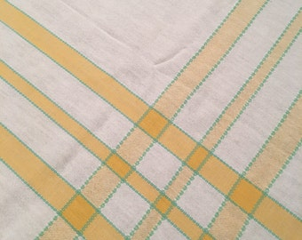 Vintage Tablecloth / white and yellow Tablecloth / Antique Tablecloth / yellow and white Tablecloth / Farm Table /card table tablecloth
