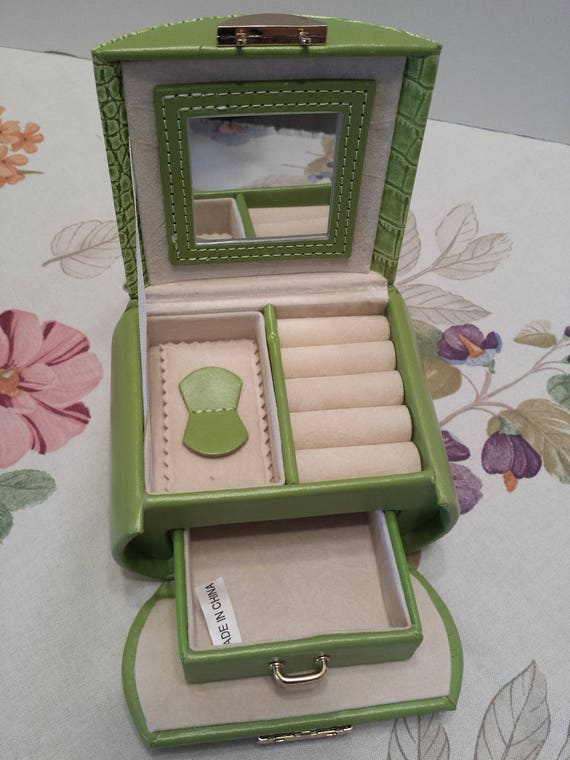 Vintage Portable Travel Jewelry Case - Lime Green Faux Leather, Velvet and Vinyl - Fold Up Jewelry Box with Handle and Mirror