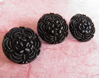 Black Glass Buttons Imitating Fabric