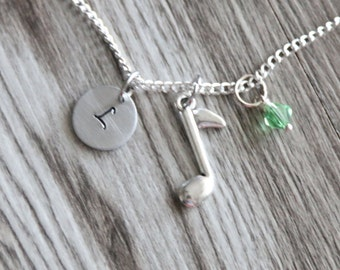 Music Note Necklace,  Personalized Initial Necklace, Birthstone Charm, Gift for Her, Music Note Jewelry, Music Necklace, Music Jewelry Gift