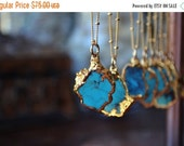 CYBER MONDAY TURQUOISE Necklace  /// Petite Aqua /// Small Turquoise Chunk Necklace /// Electroformed 24kt Gold
