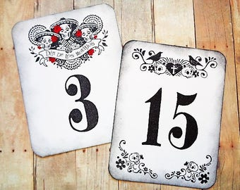 Day of the Dead Wedding Table Number Cards Dia de los Muertos Party Celebration Sugar Skulls Skeletons Bride Groom Crows Gothic Halloween