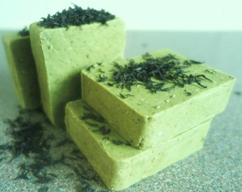 Ecocalm Spirulina, Seaweed and Tea Tree Handmade Soap. Antibacterial and Skin-Softening